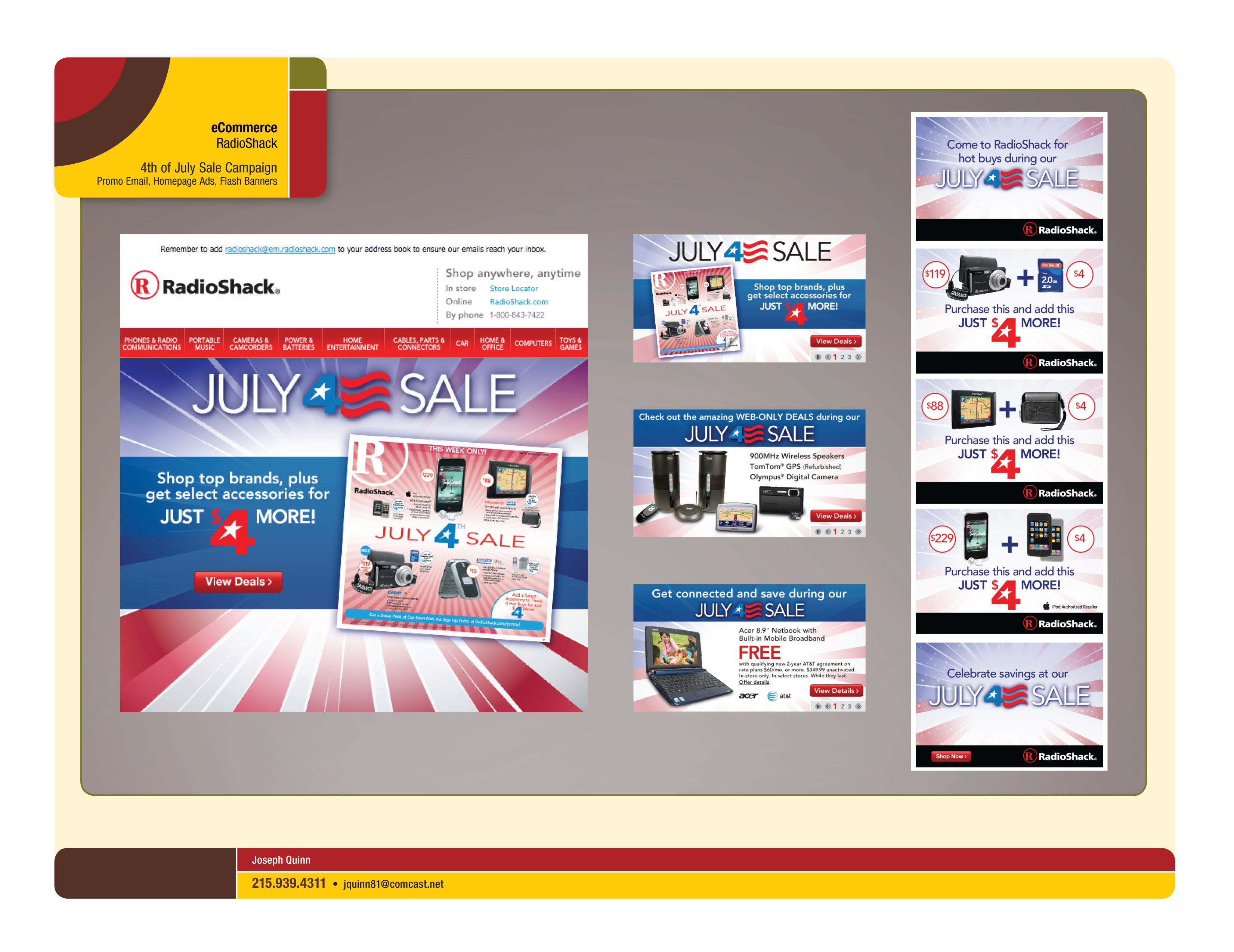 Email, A-spots and affiliate Flash Banners for 4th of July Sale