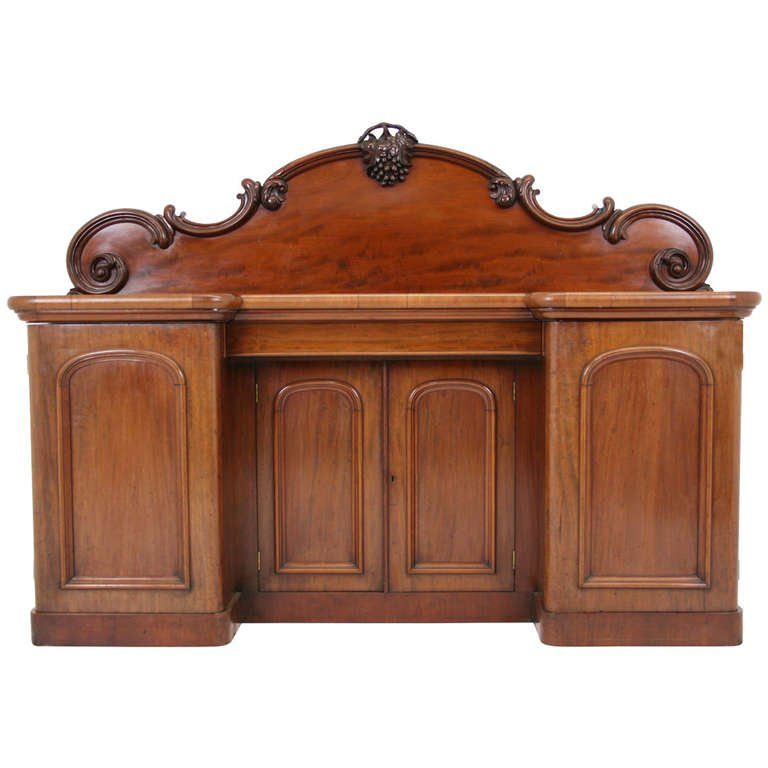 Antique Scottish Victorian Mahogany Sideboard Buffet