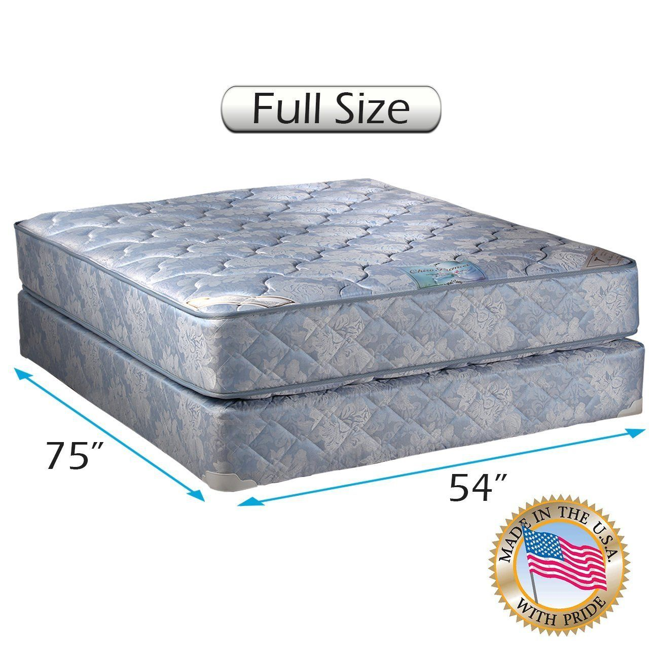 Chiro Premier Orthopedic Blue Color Full Size Mattress And Box Spring Set Fully Assembled Good For Your Back Superior Mattress Box Springs Mattress Box Spring