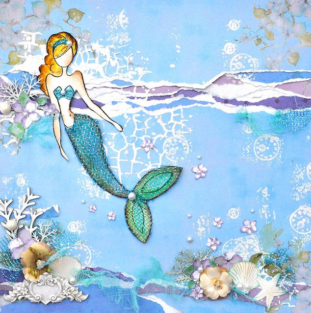 DIY -Prima and Julie Nutting -Canvas -Mermaid Layout with Julie Nutting Doll Stamps