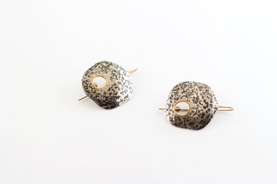 hammered silver touch of gold earrings by sznnesquires on Etsy