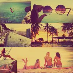 Summertime vintage style beach collage || ♕∙↠ Bella Montreal ↞∙♕