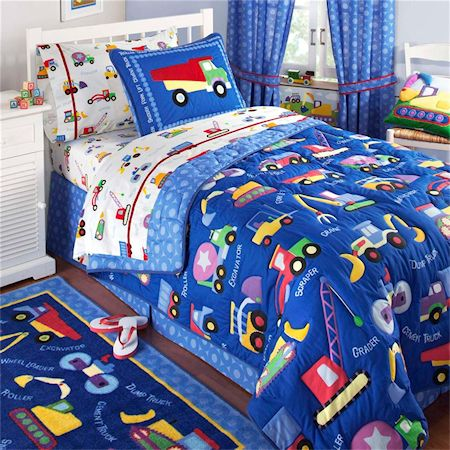 Blue Construction Bedding For Boys Twin Comforter Amp Sham