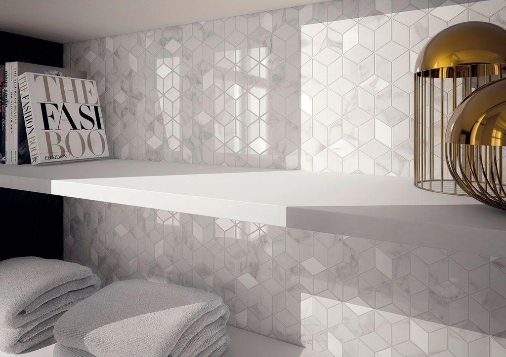 Mosaïque mur Murano hexa blanc carrare #leroymerlin #marbre ...