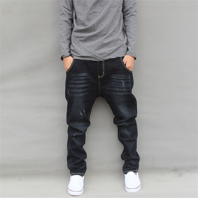 Harem jeans men plus size mens joggers casual male hip-hop pants ...