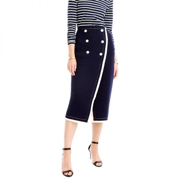 - A modest midi-skirt is perfect for the office all year long. Wear it now with thermal tights underneath—then over bare legs come spring.J.Crew Collection Nautical Wrap Skirt, $298