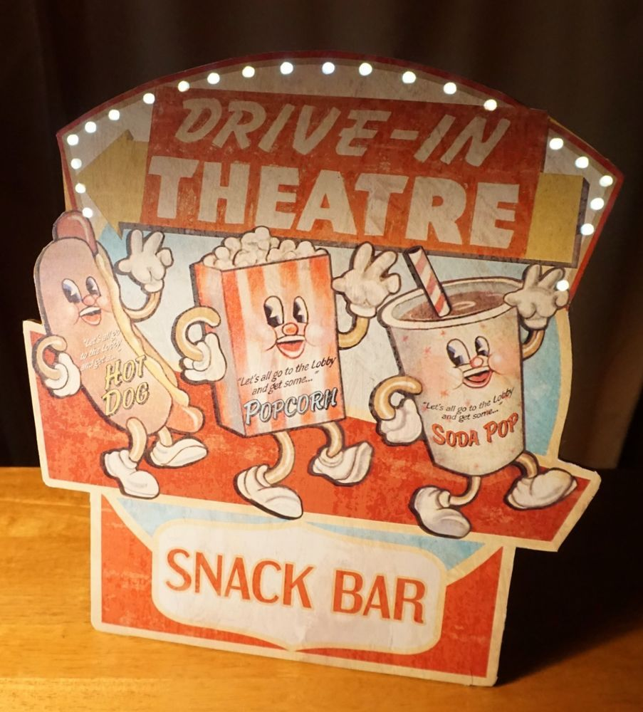 Theater Room Snack Bar: Lighted Snack Stand Marquee Sign Drive In Theater Movie