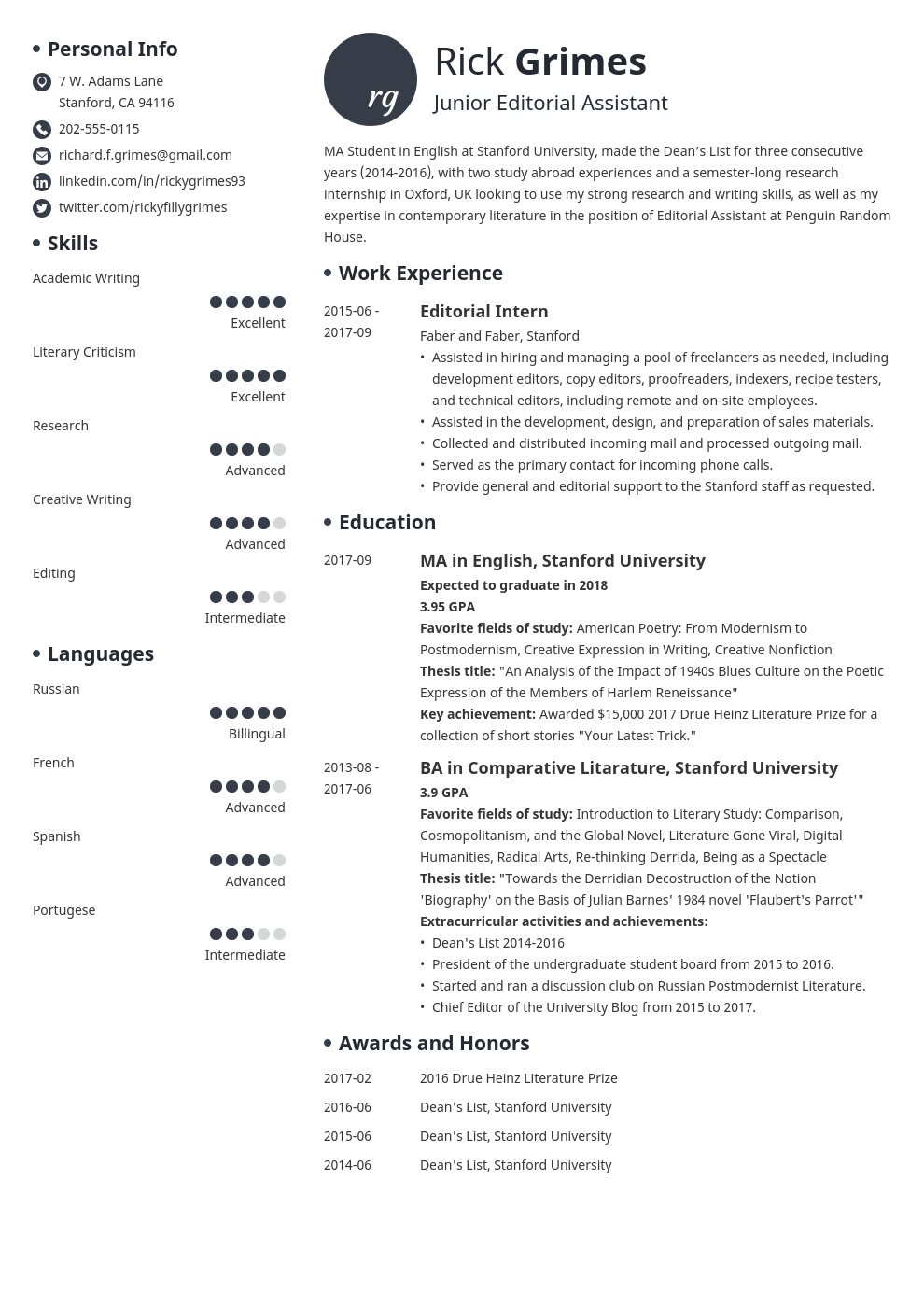 Entry Level Resume Example Template Initials Student Cv Examples Resume Examples Job Resume Examples