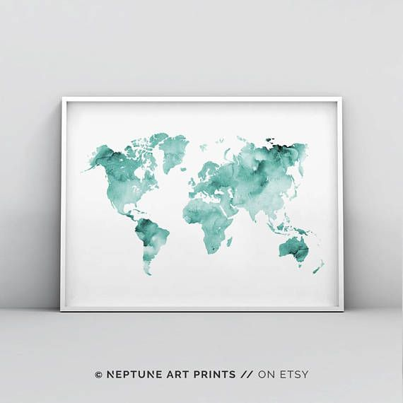 Teal world map poster mint green map print teal map printable teal world map poster mint green map print teal map printable abstract world map wall art teal watercolour world map print home decor gumiabroncs Images