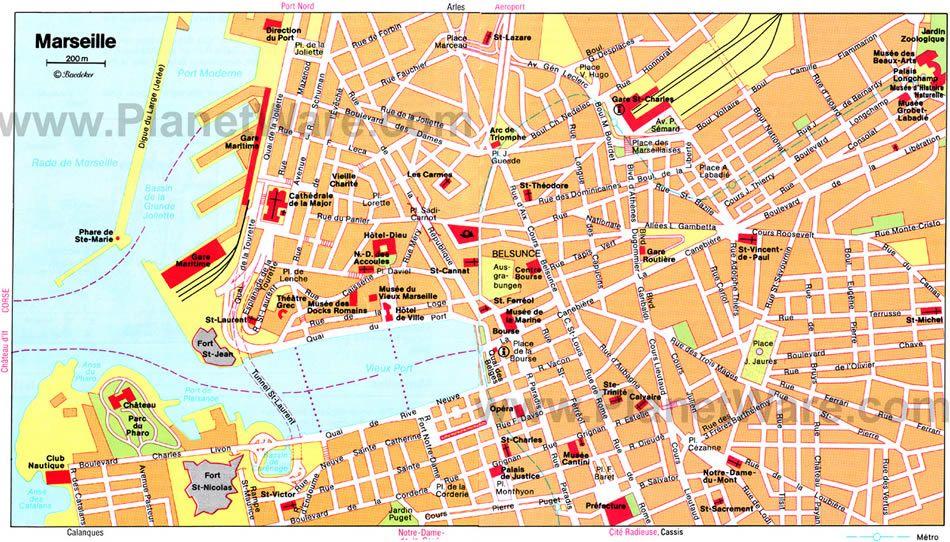 Voyage A Marseille France Carte Touristique Mappe