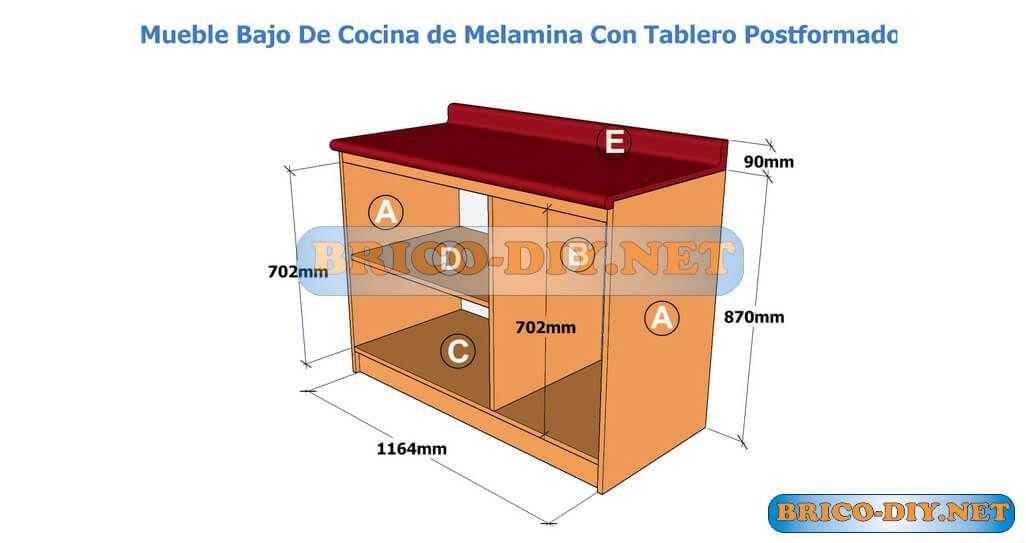 Bricolaje diy planos gratis como hacer muebles de melamina for Diseno cocinas gratis espanol