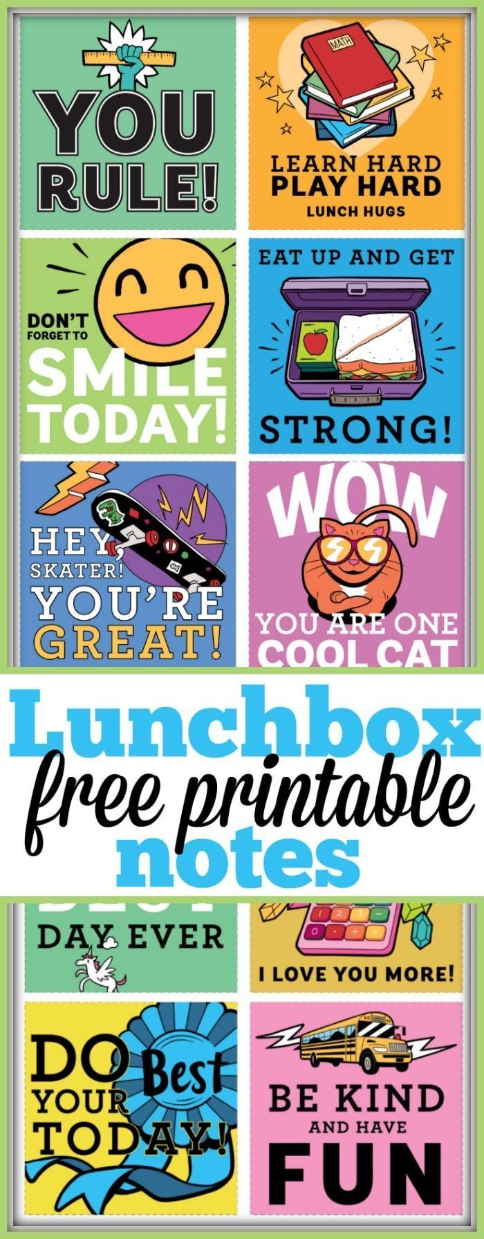 school is about to begin and here are some free printable lunchbox notes you can cut out and include in their lunch boxes to put smiles on the