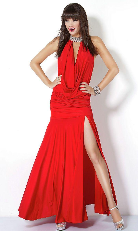 Ruched front slit embellished neck line long high draped natural red