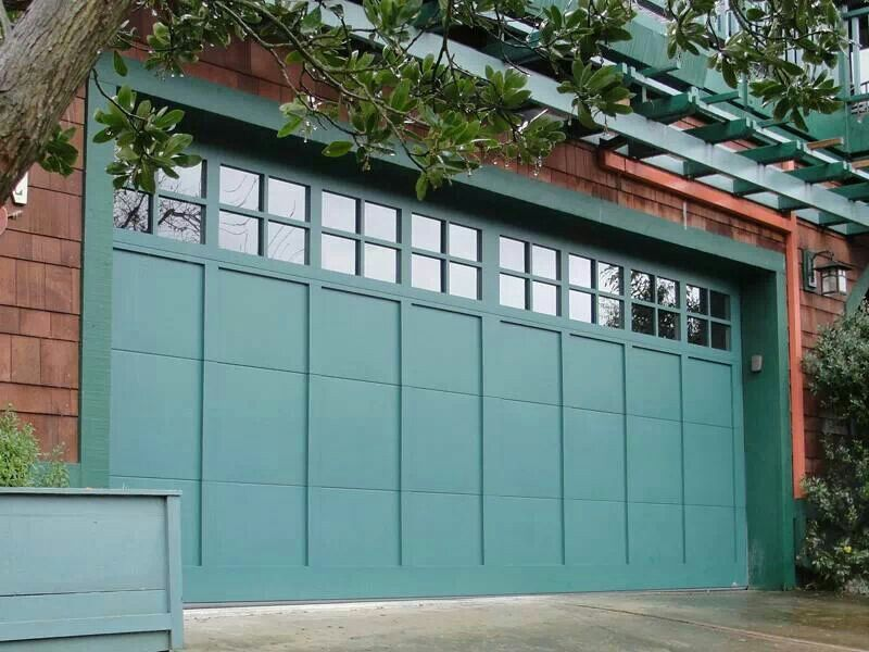 Green painted wood garage door get this look with general for Garage door repair roy utah