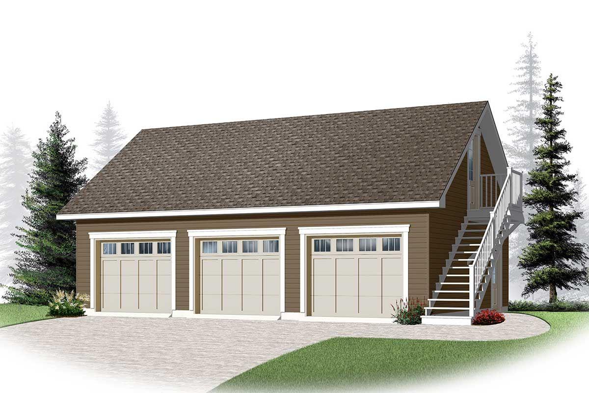 Plan 22364dr 3 Car Garage With Bonus Storage Garage Plans With Loft Garage Plans Detached Garage Loft