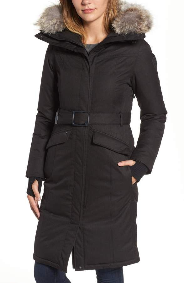 9331939fa Morgan NOBIS Long Belted Down Parka with Genuine Coyote Fur Trim ...