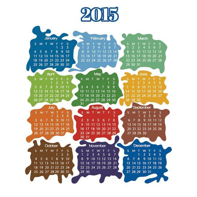 Vector colorful paint splash monthly happy new year 2015 calendar vector colorful paint splash monthly happy new year 2015 calendar template illustration saigontimesfo