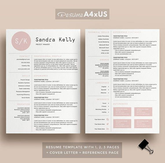 Modern Resume Template for Word, 1, 2 and 3 Page Resume + Cover Page