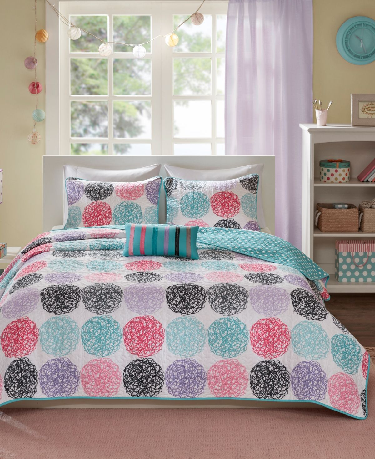 Twin XL Full Queen Size Bed Purple Teal Pink Black Polka Dot 4 pc Comforter Set