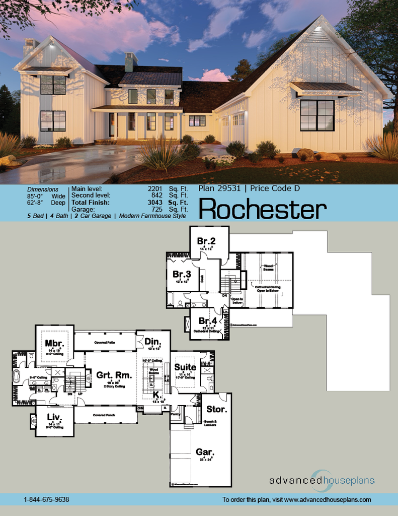 29531 Rochester This L Shaped 1 5 Story Modern Farmhouse Plan Is Highlighted On The Exterior By Modern Farmhouse Plans Farmhouse Floor Plans Farmhouse Plans