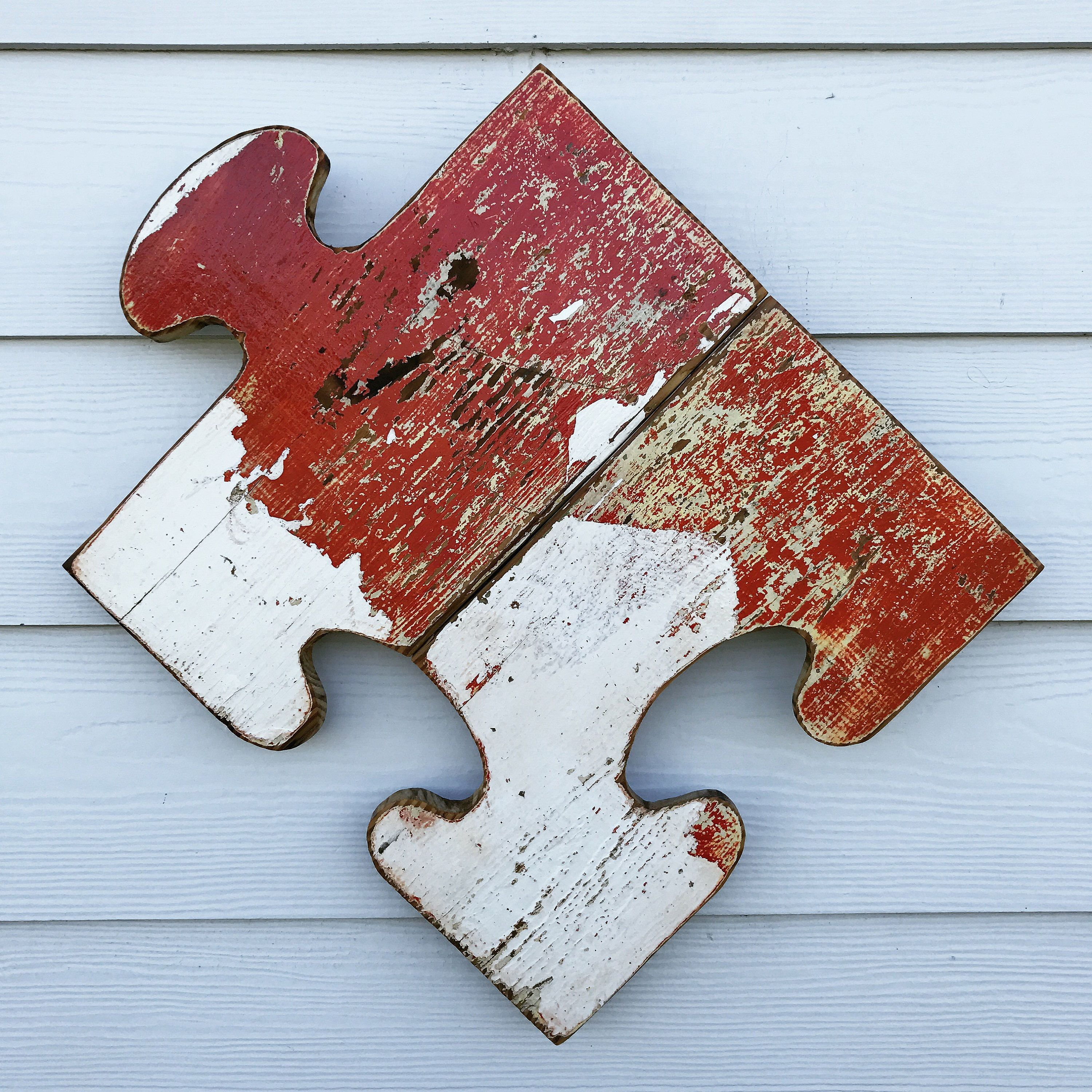 Puzzle Piece Wall Decor reclaimed wood puzzle piece sign, rustic decor, recycled wood