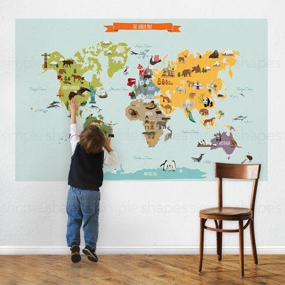 World map kids world map poster educational map for kids peel and laissez vos enfants dcouvrir le monde avec nos peel stick carte du monde monuments et animaux notables sont reprsents sur chacun des continents gumiabroncs Image collections