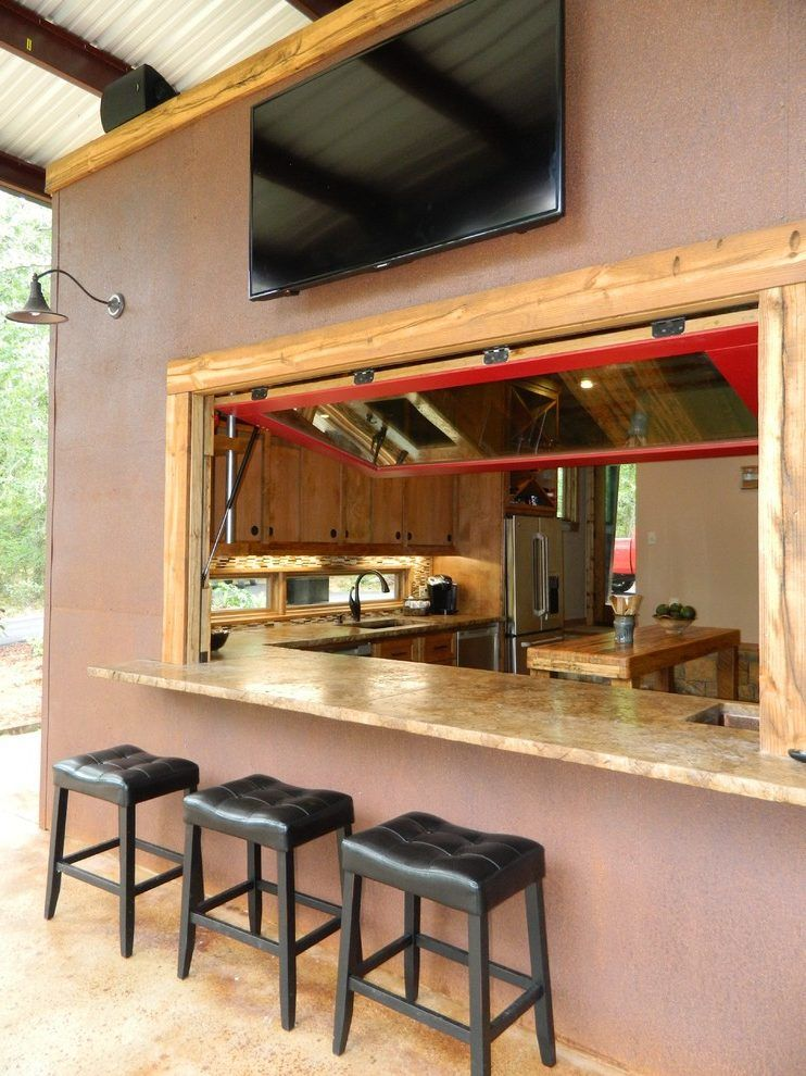 Kitchen Pass Through Bar Patio Rustic With Hydraulic