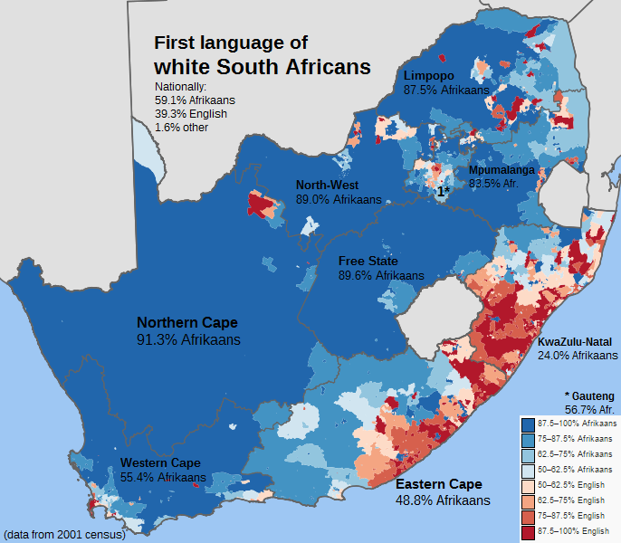 First Language Of White South Africans South Africa Map African