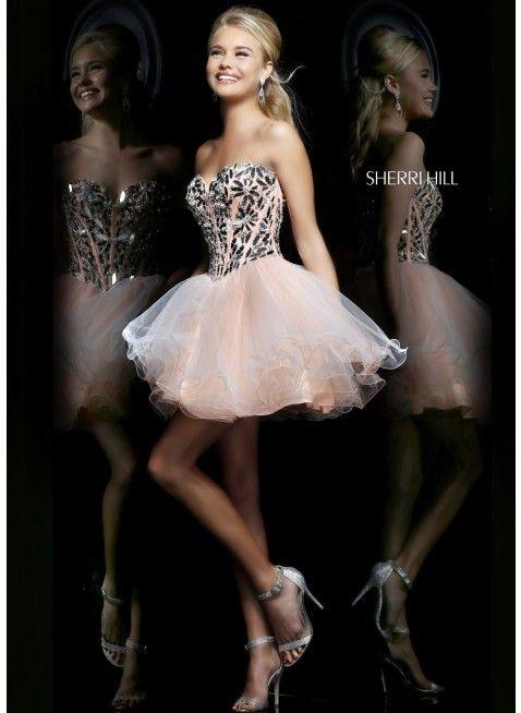 Sherri Hill 11131 Silver/Peach Dress · Peach Homecoming DressesCorset ...