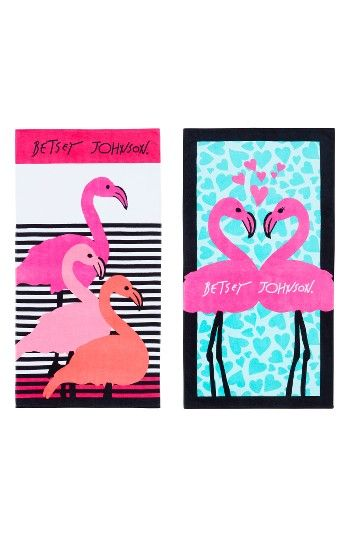 Betsey Johnson Flamingo Luv Beach Towel Set Nordstrom Flamingo