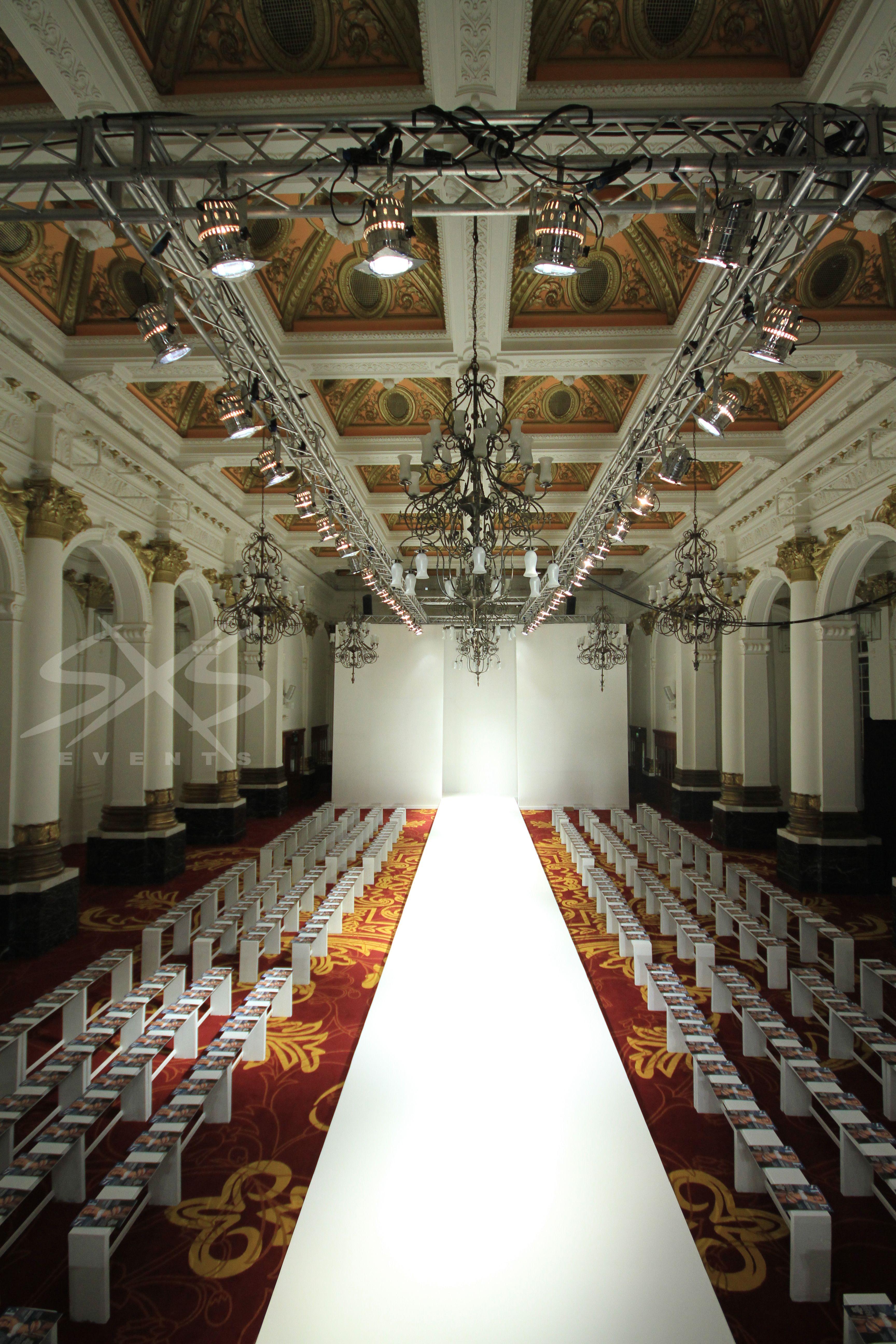 Fashion show white catwalk flat set truss grid and