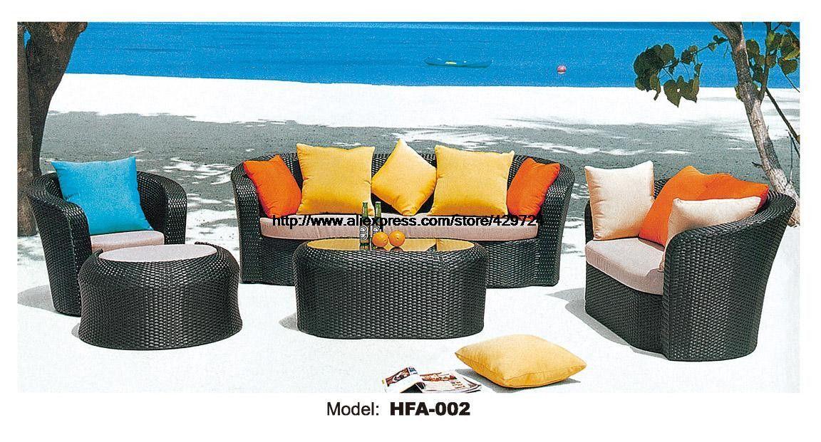 Outdoor Patio Furniture Sofa Table Ottoman Rattan Sofa Set Garden