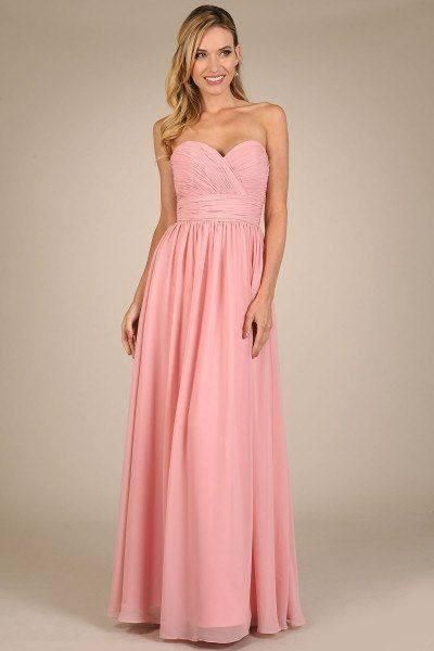 2b46ab6ad78 Strapless sweetheart neckline long chiffon bridesmaid dress featuring  beautiful ruched bodice and waist band. This elegant bridesmaid dress also  features a ...