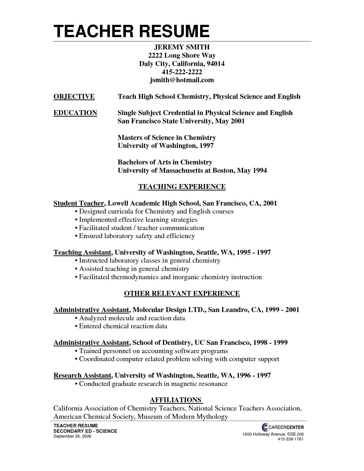resume format for school teacher job