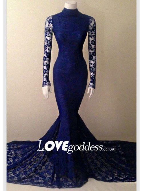 4354dbabeeca Navy Blue Lace High Neck Mermaid Evening Gown With Long Sleeves - Prom  Dresses - HoneyDress