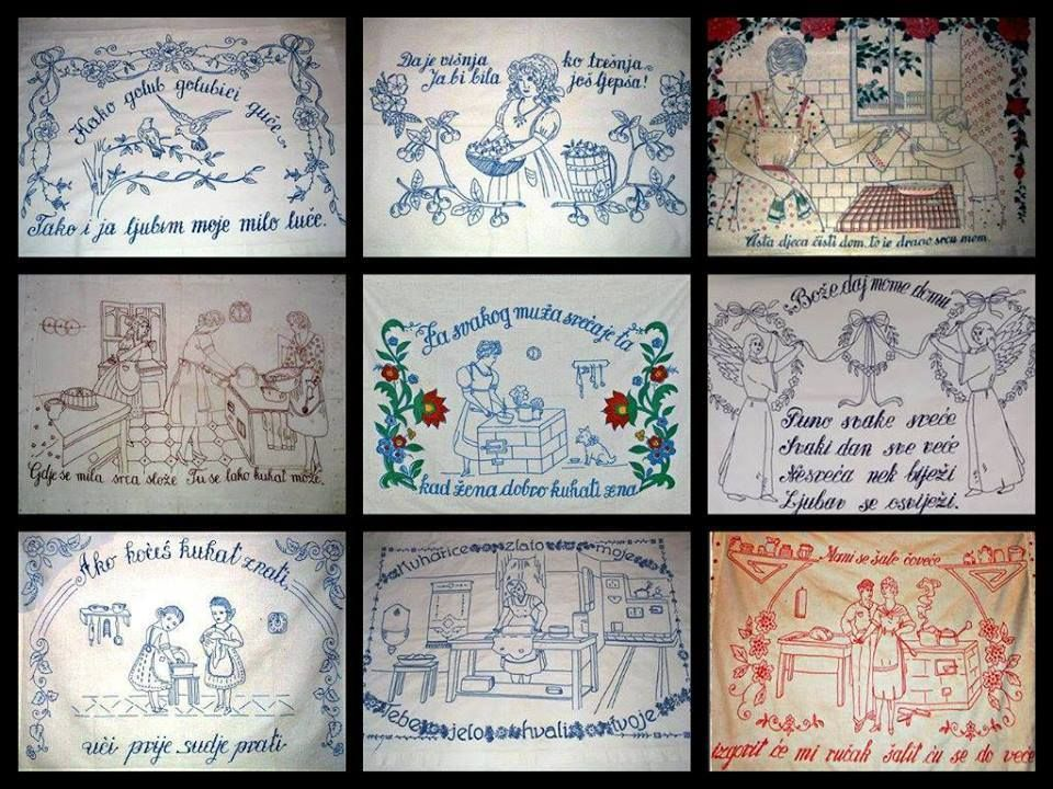 Embroidered canvas usually put above the stove in the kitchen, Vojvodina ,Serbia