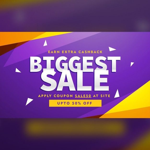Purple and yellow discount voucher Free Vector
