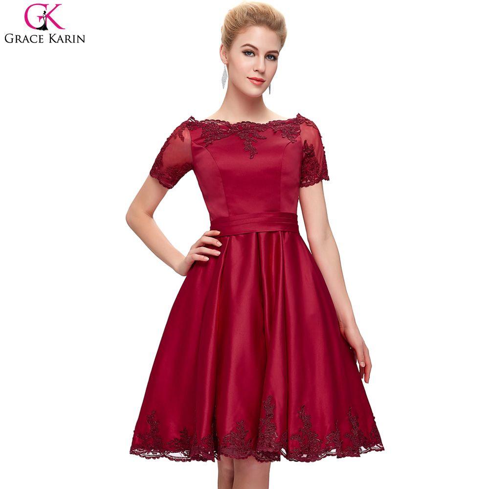 Click to Buy << Short Wedding Dress 2017 Grace Karin Champagne Wine ...