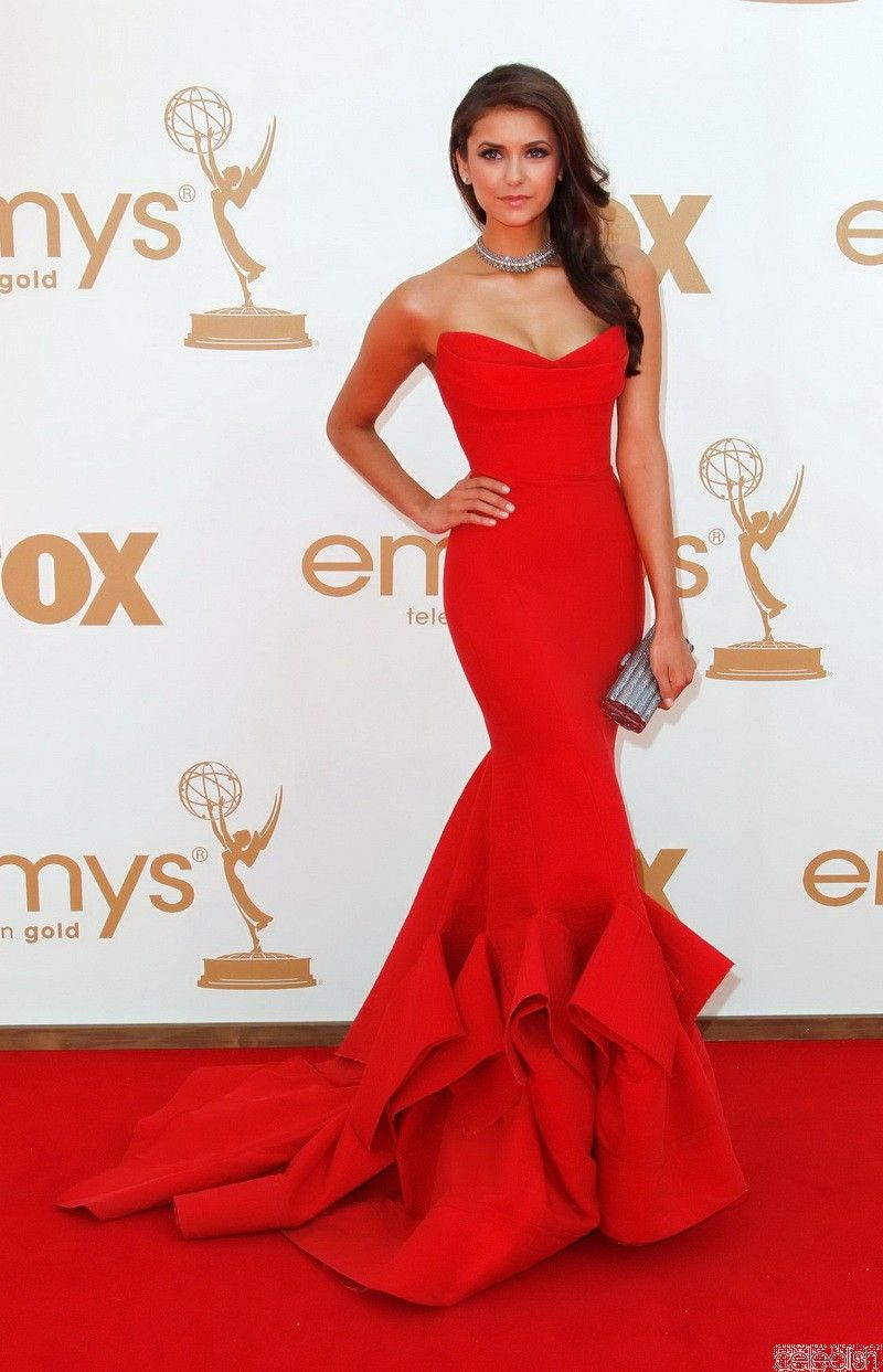 Nina dobrev red carpet dress on emmy awards nina dobrev red