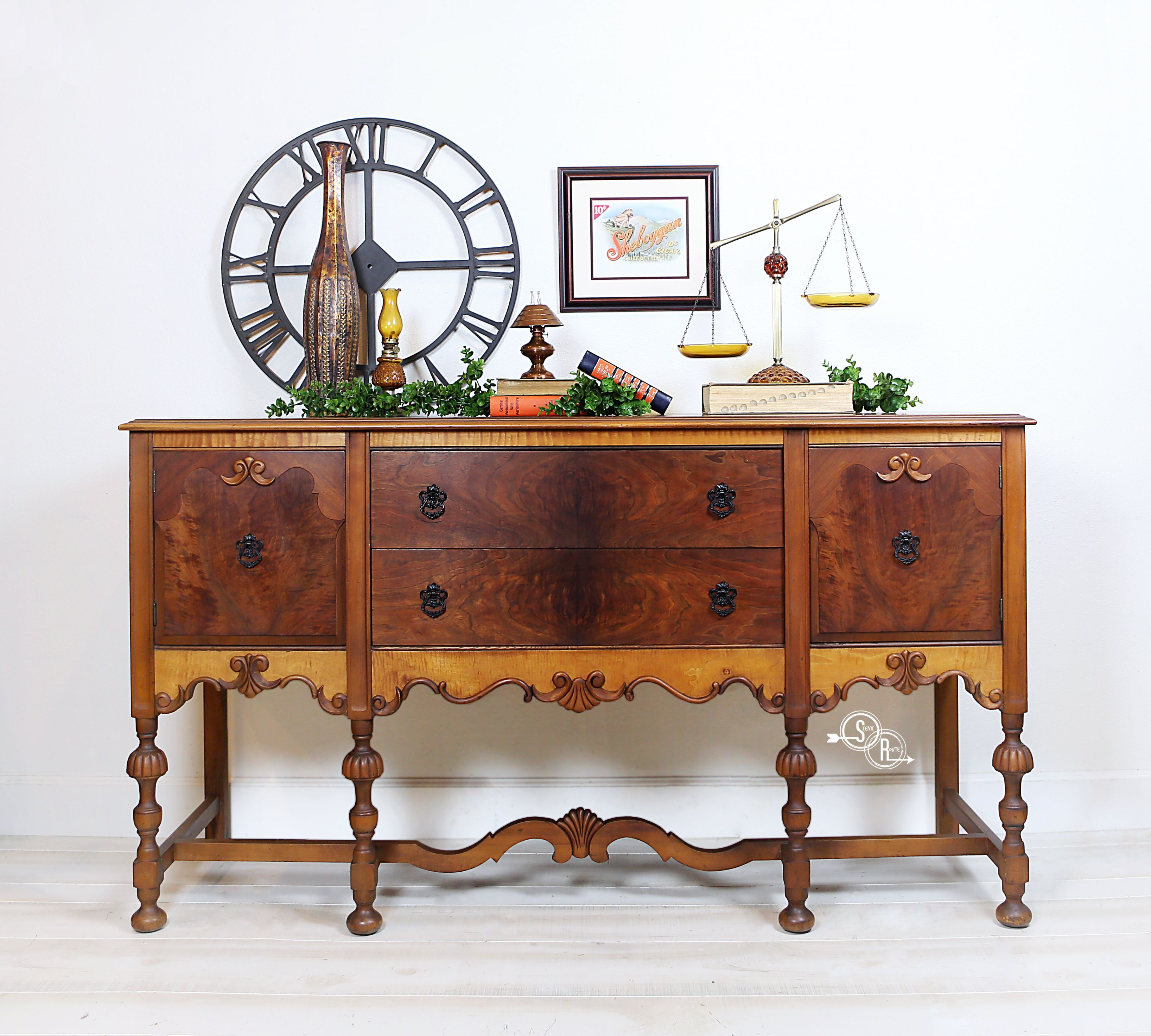 What A Lovely Example Of Jacobean Style With Warm Rich Burl Wood And Dimensional Grain That Seems To Move From One Antique Buffet Furniture Gorgeous Furniture