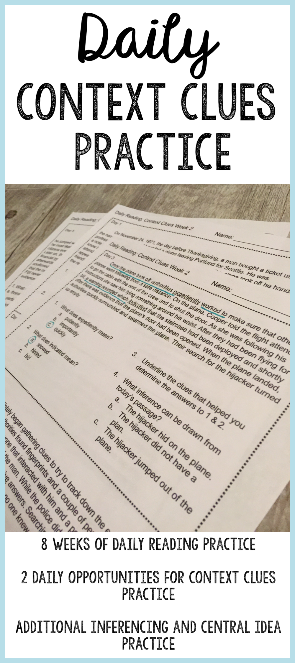 Grades 6 8 Context Clues Practice That Includes Opportunities To Work On Inferencing And Determining The Context Clues Reading Comprehension Reading Passages [ 2249 x 1000 Pixel ]