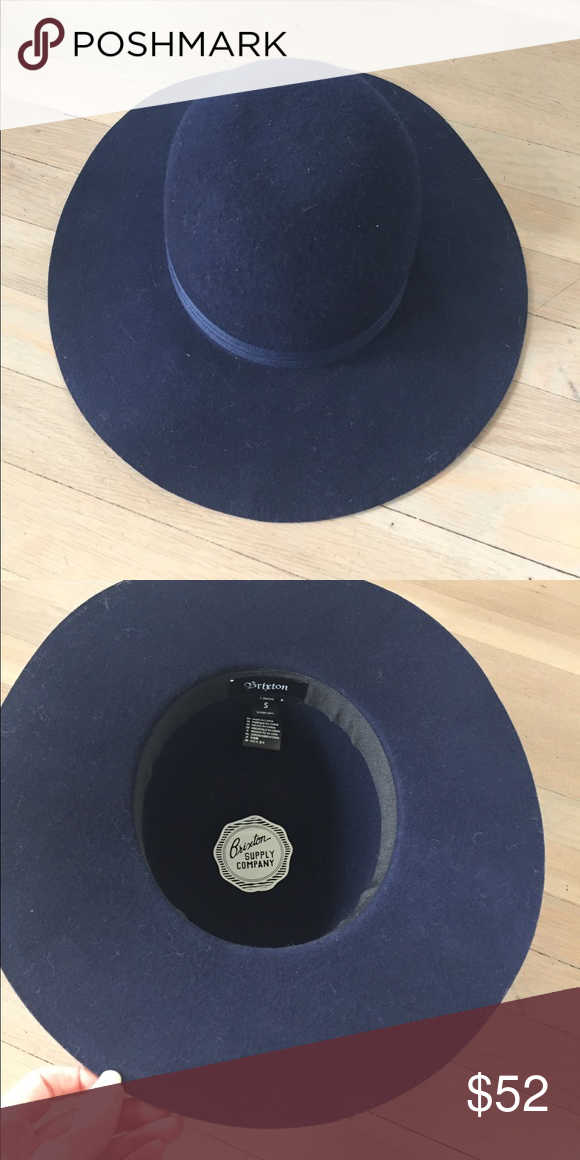 541f28415b395 Brixton hat wide brim Brixton hat worn once. It has a wide firm brim that  will not flap in your face in the wind. Midnight Blue Brixton Accessories  Hats