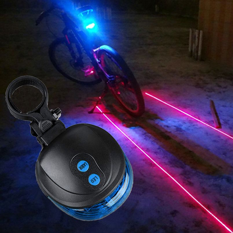 5 Blue Flashlight 2 Red Laser Bicycle Lamp Bike Light Cycling
