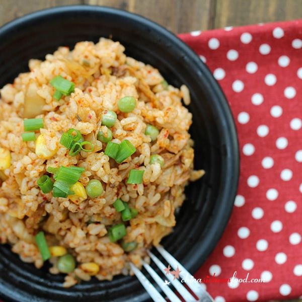 Kimchi fried rice with corn and green beans. Ready in 15 minutes and so yummy.