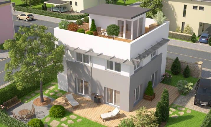 Sky View Bauplan haus, Mehrfamilienhaus bauen, Haus hanglage