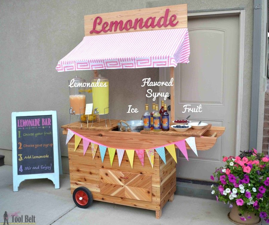 Diy lemonade stand with wheels vbs 2016 tool belt and for Kids lemonade stand plans