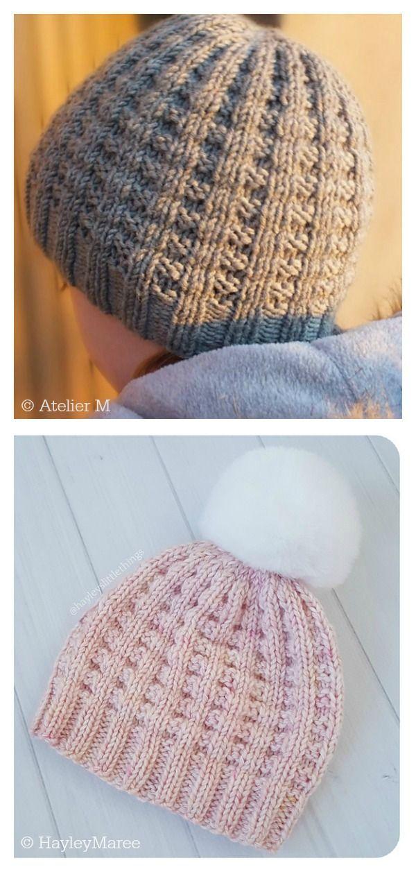 Photo of Waffle Stitch Miki Beanie Hat Free Knitting Pattern