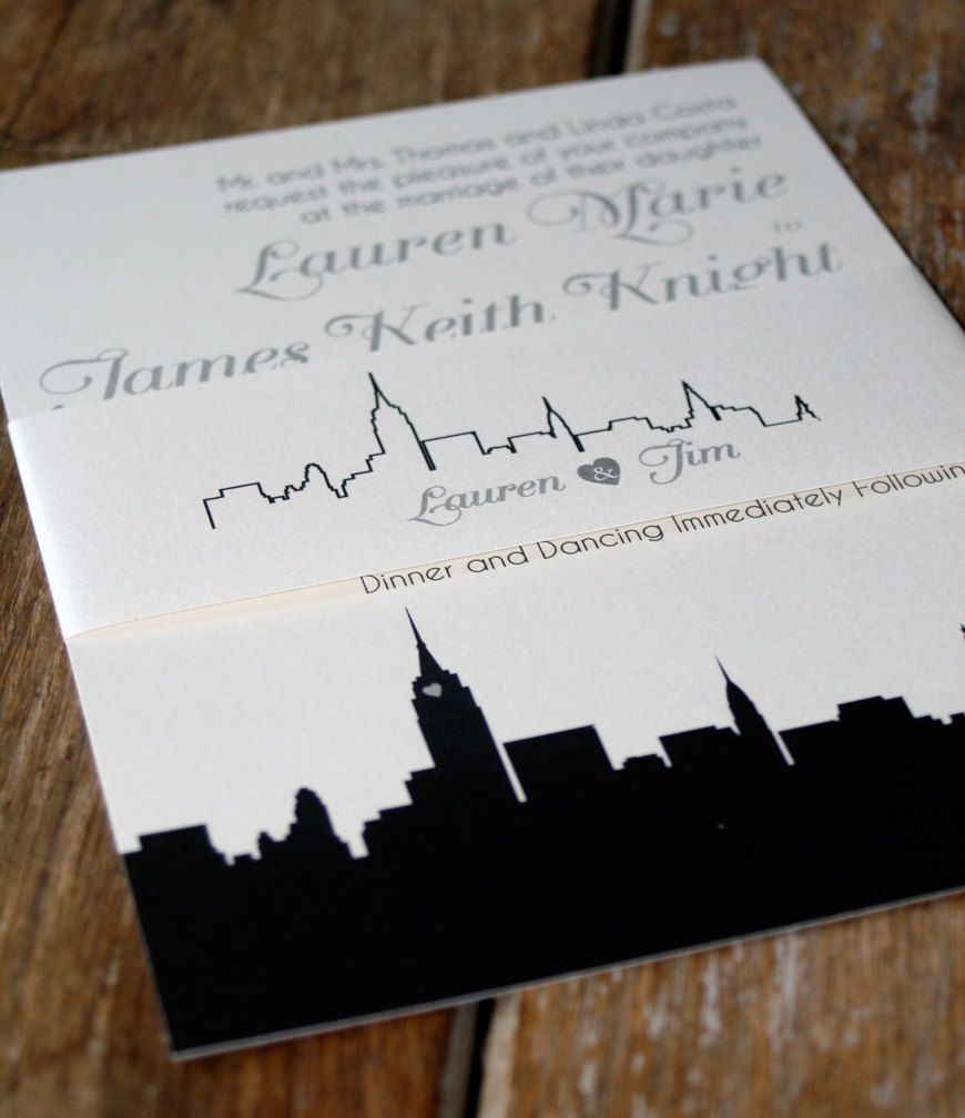 Modern Wedding Invitation Skyline Wedding Invitation Nyc