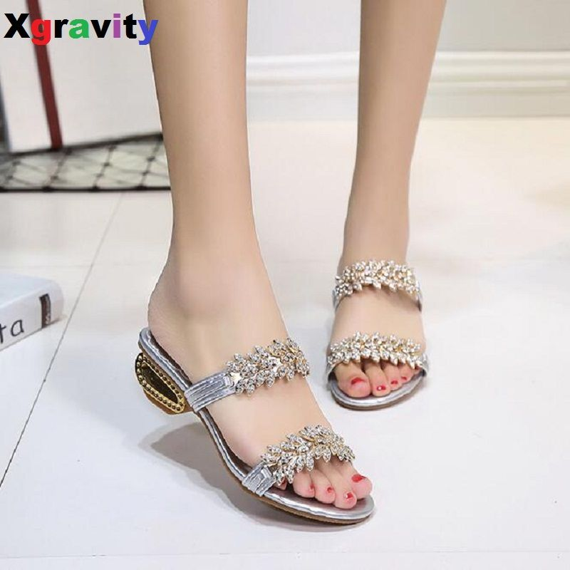 2017 Hottest Women New Summer Shoes PU Rhinestone Mid-Heel Lady Slippers  College Student Crystal