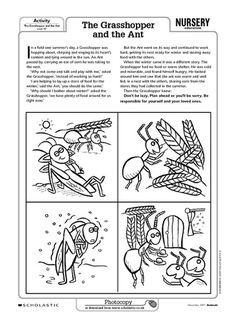 graphic relating to The Ant and the Grasshopper Story Printable identify Locate out how bugs experience winter season with this tale and
